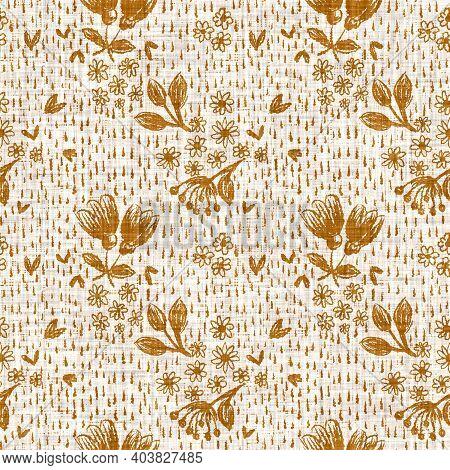 Watercolor Orange Flower Motif Background. Hand Painted Earthy Whimsical Seamless Pattern. Modern Fl
