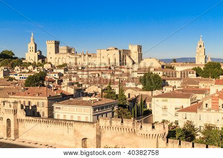 Avignon in Provence - View on city and Popes Palace poster