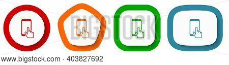 Smartphone, Mobile Phone Vector Icon Set, Flat Design Buttons On White Background