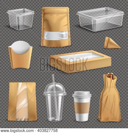 Fastfood Packages Realistic Set With Cup Paper Bags And Containers Dark Transparent Background Isola
