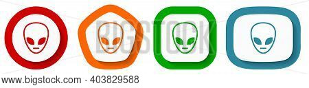 Alien Face Vector Icon Set, Flat Design Buttons On White Background