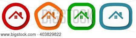 House, Roof And Window Vector Icon Set, Flat Design Buttons On White Background