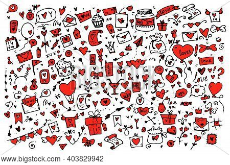 Doodle For Valentines Day Hand Drawn .a Large Set Of Cute Hand-drawn Elements About Love. Design Ele