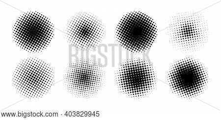Halftone Collection. Circle Halftone Different Shape. Halftone, Isolated. Vector Illustration