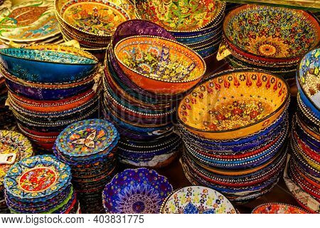 Traditional Turkish Crockery At Oriental Bazaar. Souvenirs From Turkey