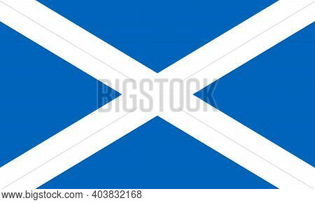 Flag Of Scotland. Saint Andrews Cross. National Flag Of Scotland Standard Proportion And Color. Vect