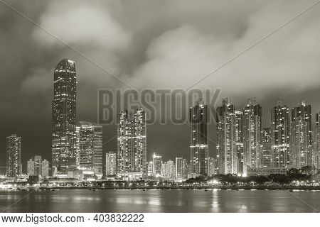 Night Scenery Of Skyline And Harbor Of Hong Kong City At Night