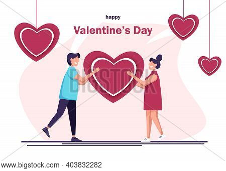 Valentines Day. A guy gives a heart to a girl. Vector illustration of a happy man and woman. A loving guy holds a heart on Valentines Day.Valentines day background. Valentine, valentine day, Valentines Day background, Valentine