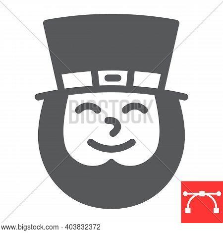 Leprechaun Irish Character Glyph Icon, St. Patricks Day And Holiday, Leprechaun Vector Icon, Vector
