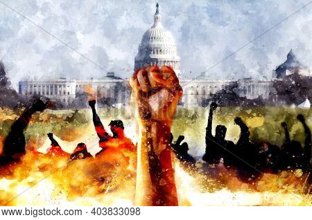 Fist Up Against The Background Of The Us Capitol. Protest Watercolor Illustration. Fight For Justice