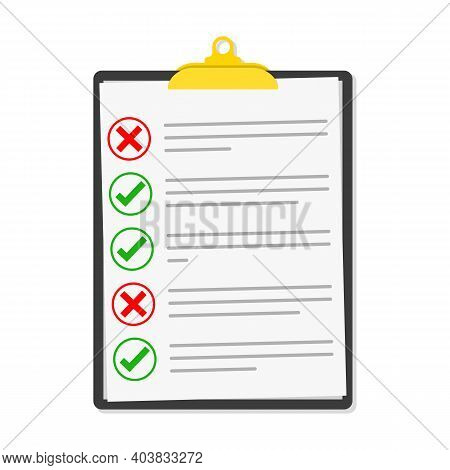 Checklist Isolated. Vector Illustration. Checklist Clipboard In Flat Design