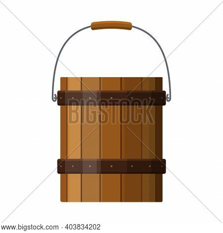 Wooden Bucket With Handle And Metal Strapping Isolated On White Background. Rustic Wood Pail Icon. V