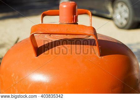 Traditional Metal Butane Gas Bottle At Home In Spain