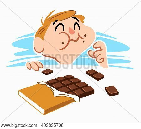 A Little Boy Eating Sweet Chocolate Happily