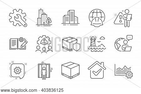 Global Engineering, Delivery Box And Lighthouse Line Icons Set. Cogwheel, Buildings And Engineering