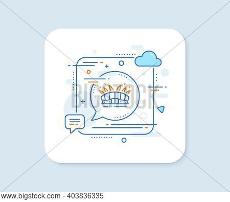 Arena Stadium Line Icon. Abstract Square Vector Button. Sport Complex Sign. Championship Building Sy