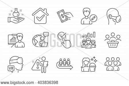 Queue, Group And Buyers Line Icons Set. Presentation Board, Augmented Reality And Teamwork Results S
