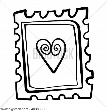 Valentines Day Theme Doodle Vector Icon Of Hand Drawn Mail Postage Stamp With Heart Shape Isolated O