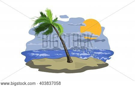 Raging Ocean, Wind And Grey Cloudy Sky. Vector Palm Tree On Sand, Nature Landscape, Weather And Clim