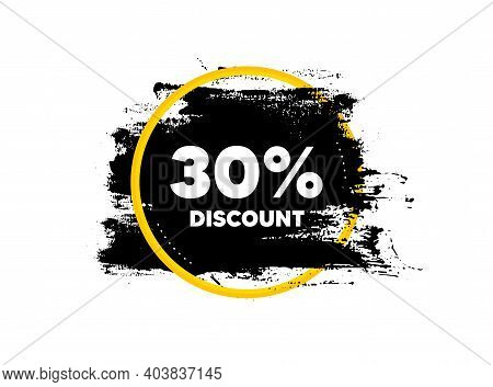 30 Percent Discount. Paint Brush Stroke In Circle Frame. Sale Offer Price Sign. Special Offer Symbol