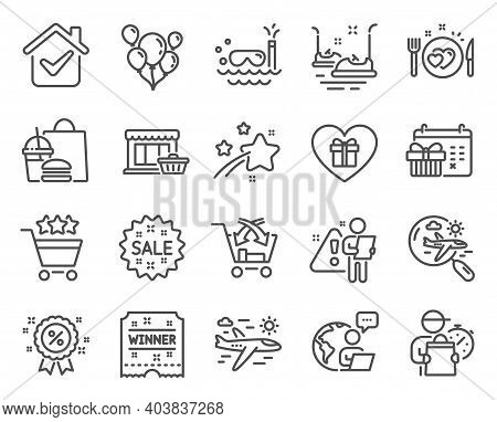 Holidays Icons Set. Included Icon As Cross Sell, Scuba Diving, Sale Signs. Airplane Travel, Discount