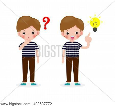 Young Boy Thinking Idea, Cute Children Character, Posing Question And Inspiration Isolated On White