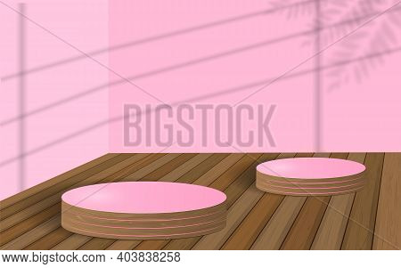 Minimal Scene With Geometric Forms. Cylinder Wood Podium In Violet Background With Shadow Leaves. Sc
