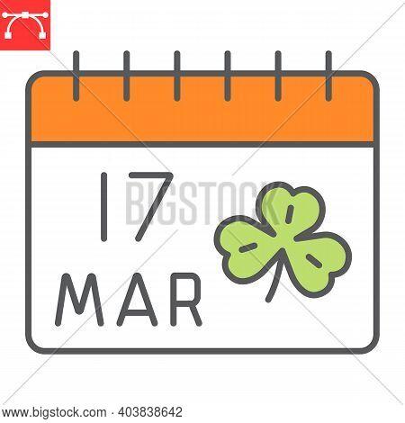 St. Patricks Day Calendar Color Line Icon, St. Patricks Day Date And Holiday, Calendar With Clover V