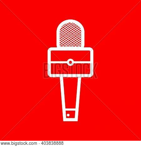 Silhouette Of Square Broadcasting Microphone For News Anchor, News Live, Television Or Infotainment