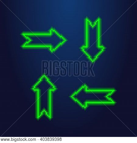 Colorful Simple Vector Pixel Art Illustration Of Green Led Light Set Of Arrows Which Are Directed In