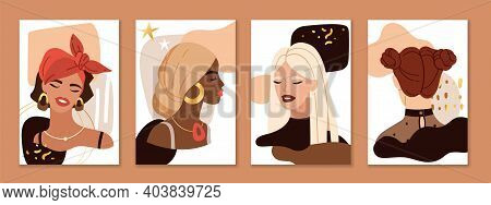 Abstract Female Portraits. Trendy Beautiful Young Women Faces Compositions. Pretty Blonde, Brunette