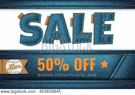 Denim Sale. Promotional Fashion Blue Jeans Discount, Fabric Font, Marketing Brochure, Coupon Or Flye