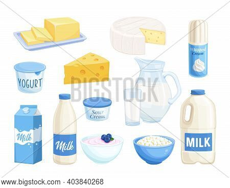 Vector Set Dairy Products. Illustration Of Cottage Cheese, Milk, Butter, Cheese And Sour Cream. Yogu