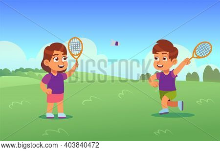 Children Play Badminton. Happy Athletes Boy And Girl With Racket And Shuttlecock On Court, Little Ki