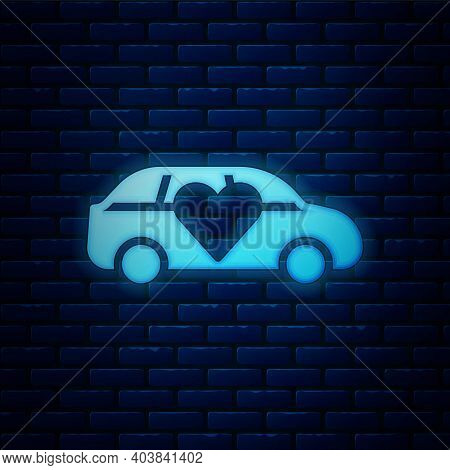 Glowing Neon Luxury Limousine Car Icon Isolated On Brick Wall Background. For World Premiere Celebri