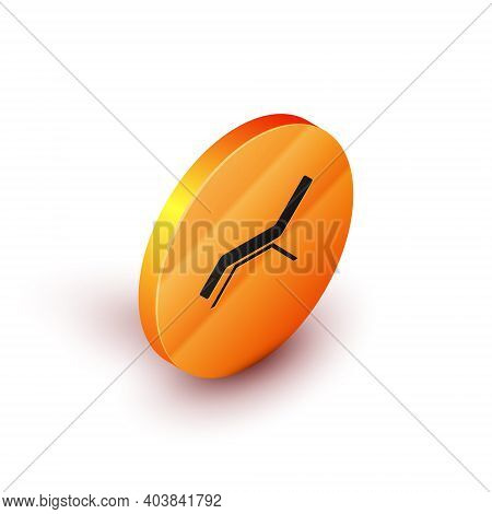 Isometric Sunbed Icon Isolated On White Background. Sun Lounger. Orange Circle Button. Vector