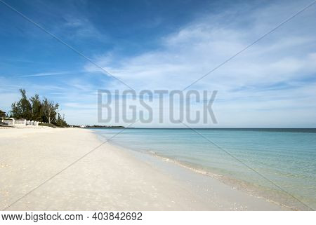 The Quiet And Empty Coral Beach View In Freeport Town On Grand Bahama Island.