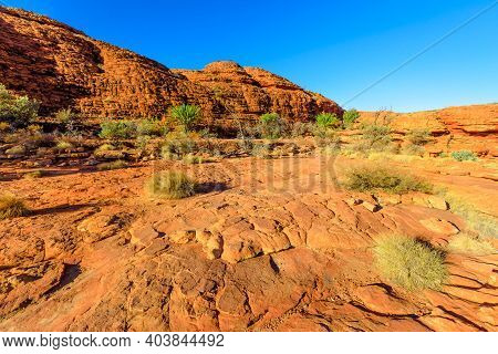 The Scenic Sandstone Domes Called The Lost City At Start Of Kings Canyon Rim In Watarrka National Pa