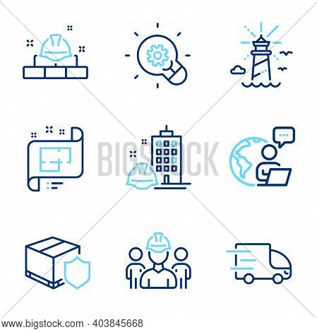 Industrial Icons Set. Included Icon As Delivery Insurance, Lighthouse, Truck Delivery Signs. Constru