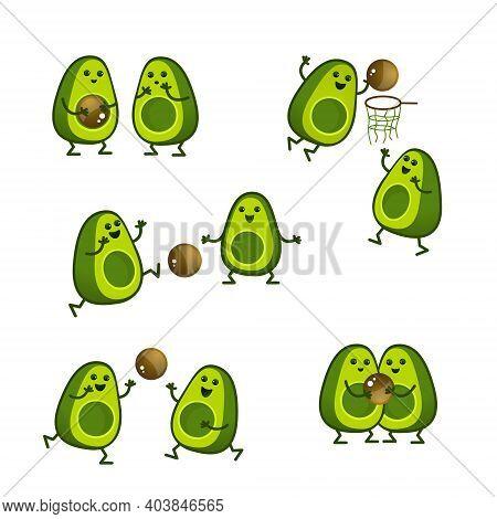 Cartoon Avocado Characters Play Ball. A Kawaii Avocado Cut In Half Is A Sport. Healthy Lifestyle Ill