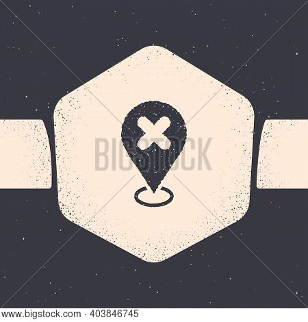 Grunge Map Pin With Cross Mark Icon Isolated On Grey Background. Navigation, Pointer, Location, Map,
