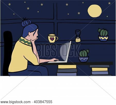 Young Woman Using Laptop Late In The Evening At Home Against Window With Dark Starry Sky And Bright