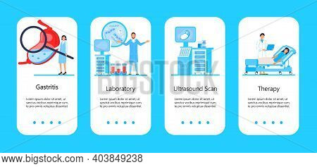 Gastroenterology App Pages Vector. Flat Tiny Doctor Making Stomach Pumping, Diet. Ulcer, Pneumatosis