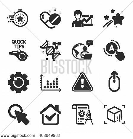Set Of Science Icons, Such As Augmented Reality, Success Business, Click Here Symbols. Dot Plot, Tut