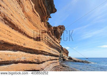 Tenerife Landscape - Costa Del Silencio Coastline. Punta Amarilla Volcanic Tuff Rocks. Amazing Place
