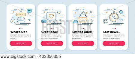 Set Of Holidays Icons, Such As Attraction, Ice Cream, Heart Symbols. Mobile Screen Banners. Travel C