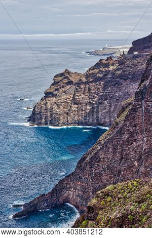 Tenerife, Canary Islands. Beautiful Rocky Coast Near Buenavista Del Norte (north Coast).
