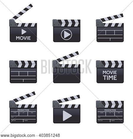 Movie Clapperboards. Cinema Wooden Clapper With Titles, Filmmaking Symbols. Moviemaking Clappers Vec