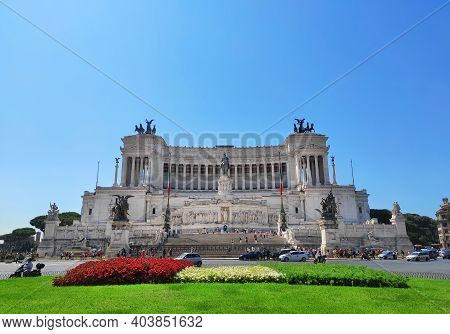 Rome, Italy - July 18, 2019:  Vittoriano Building And Monument Of Victor Emmanuel Ii, Venezia Square
