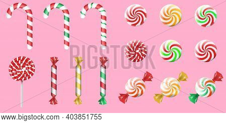 Sweet Candies Flat Icons Set. Candies, Sweetmeats, Lollipops And Assorted Chocolates Colorful Lollip